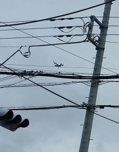 市内上空を飛行するオスプレイ